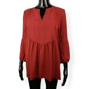 Cynthia Rowley Red Embroidered Top